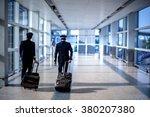 blurred image of pilots walking ... | Shutterstock . vector #380207380