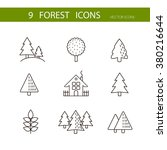 forest icons set vector. trees... | Shutterstock .eps vector #380216644