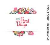 wildflower border. hand drawn...   Shutterstock .eps vector #380217328