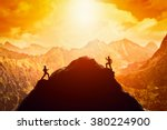 two men running race to the top ... | Shutterstock . vector #380224900
