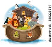 noah's ark with cute animals ... | Shutterstock .eps vector #380229964
