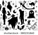 happy halloween set. vector... | Shutterstock .eps vector #380231860