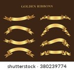 ribbon banner set.golden... | Shutterstock .eps vector #380239774