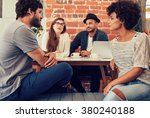 group of young friends sitting... | Shutterstock . vector #380240188