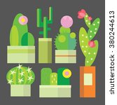 cute cactus collection vector... | Shutterstock .eps vector #380244613