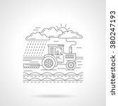 tractor harvesting or plowing a ... | Shutterstock .eps vector #380247193
