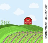 vector farm themed background | Shutterstock .eps vector #380254909