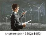 businessman paints wind... | Shutterstock . vector #380261653