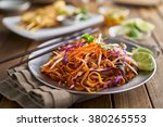 stir fried beef pad thai with... | Shutterstock . vector #380265553