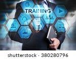 businessman pressing button on...   Shutterstock . vector #380280796