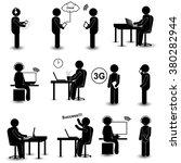 man listening to music  ... | Shutterstock .eps vector #380282944