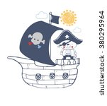 pirate baby bear sailor vector... | Shutterstock .eps vector #380295964