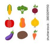 vegetables isolated over white. ... | Shutterstock .eps vector #380309950