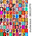 large set of various human head ... | Shutterstock .eps vector #380313970
