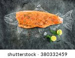 raw salmon fish steak with... | Shutterstock . vector #380332459
