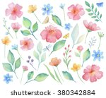 watercolor set of flowers ... | Shutterstock . vector #380342884