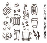 set of beer related doodle... | Shutterstock .eps vector #380344678