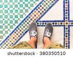 feet selfie from upper view of... | Shutterstock . vector #380350510