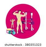 bodybuilding sport concept icon ... | Shutterstock . vector #380351323
