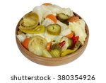 Mixed Pickles In Wood Bowl