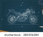 blueprint sport bike. vector.... | Shutterstock .eps vector #380356384