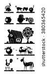 Stock vector farm animals vector silhouettes 380365420