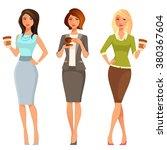 young attractive women in smart ... | Shutterstock .eps vector #380367604