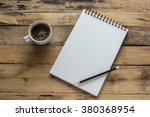 workspace with coffee cup  note ... | Shutterstock . vector #380368954