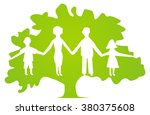 white family silhouettes on... | Shutterstock .eps vector #380375608