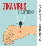 zika virus mosquito on the hand ... | Shutterstock .eps vector #380375926