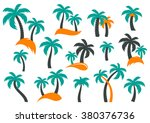 colorful vector palm tree... | Shutterstock .eps vector #380376736