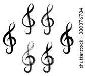black vector treble clef icons... | Shutterstock .eps vector #380376784