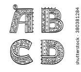 vintage set of initial letters. ... | Shutterstock .eps vector #380381284
