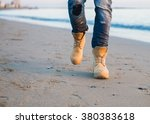 foot man walking outdoor on... | Shutterstock . vector #380383618