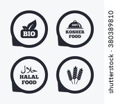 natural bio food icons. halal... | Shutterstock .eps vector #380389810
