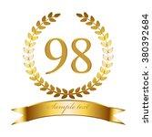 Vector illustration of Anniversary - 98. Gold laurel wreath and ribbon.