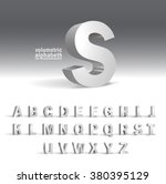 3d alphabet template.volumetric ... | Shutterstock .eps vector #380395129