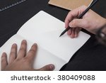 artist drawing in the... | Shutterstock . vector #380409088