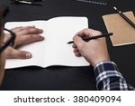 artist drawing pencit at the... | Shutterstock . vector #380409094