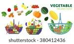 vector vegetables basket. | Shutterstock .eps vector #380412436