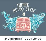 hippie vintage car a mini van.... | Shutterstock .eps vector #380418493