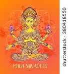 ornament card with of maa durga.... | Shutterstock .eps vector #380418550