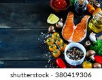 close up of salmon steak with... | Shutterstock . vector #380419306