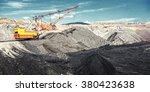 dragline on open pit coal mine | Shutterstock . vector #380423638