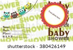owl baby shower design. vector... | Shutterstock .eps vector #380426149
