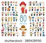 Kids Vector Characters Collection: Set of 80 different professions in cartoon style. | Shutterstock vector #380428930
