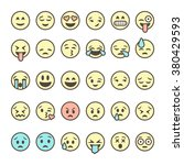 set of outline emoticons ... | Shutterstock .eps vector #380429593