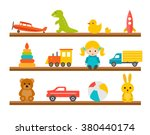 children toys on wooden shelves ... | Shutterstock .eps vector #380440174