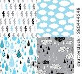rain seamless pattern set with... | Shutterstock .eps vector #380444248