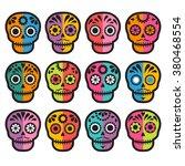 colorful patterned skull set ... | Shutterstock .eps vector #380468554